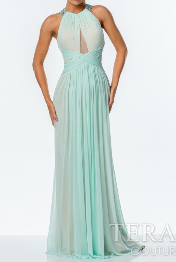 TERANI Beautiful Halter Gown in Mint Seafoam 151P0044