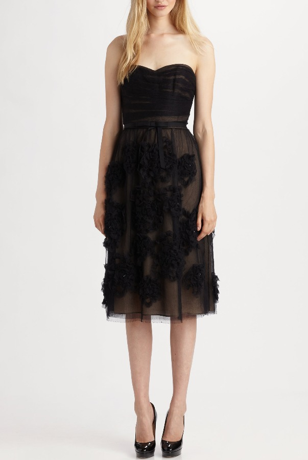 ROBERT RODRIGUEZ Brittany Black Strapless Midi Tea Dress