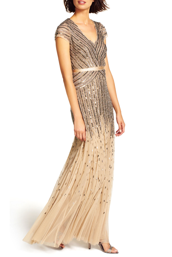 ADRIANNA PAPELL Embellished Mesh Cap Sleeve Beaded V-Neck Gown in Nude