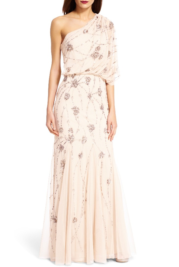 ADRIANNA PAPELL One Shoulder Beaded Gown in Blush