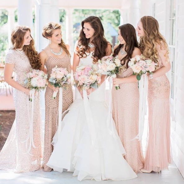 Rent Salmon pink bridesmaid dresses Adrianna Papell Poshare