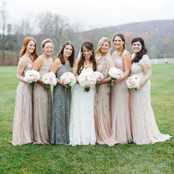 Mix and Match beaded bridesmaid dresses.